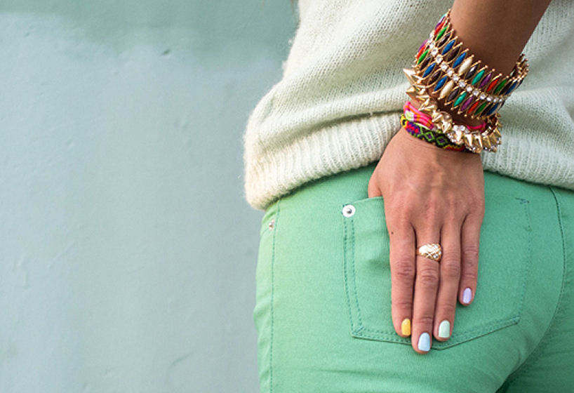 Colored denim + arm candy