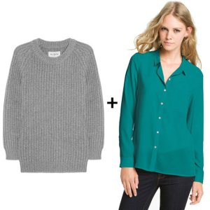 blouse and sweater layering