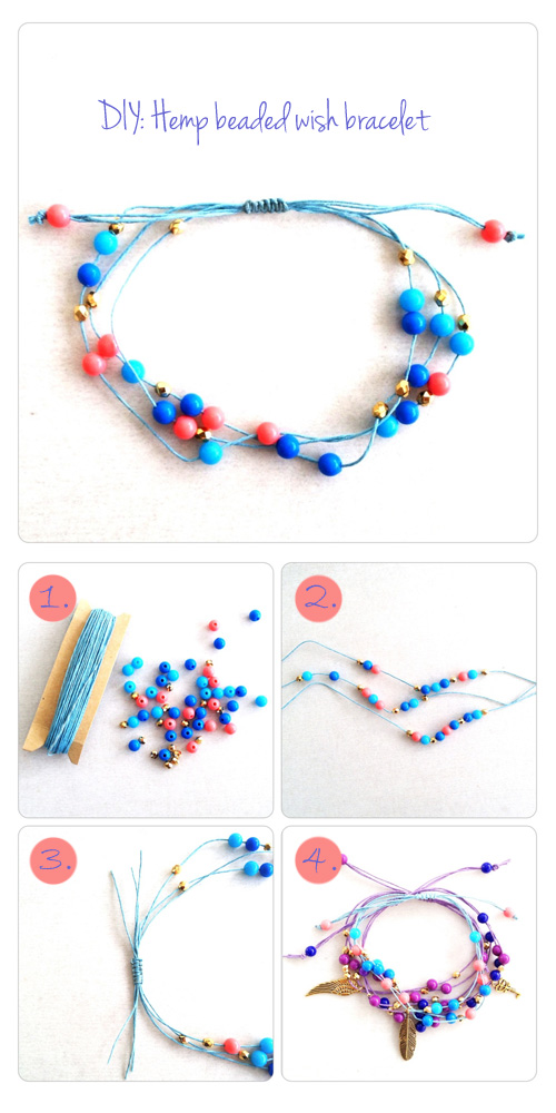 DIY: Hemp beaded bracelet tutorial