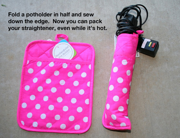 Curling iron holder from pot holder